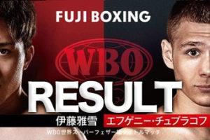 【速報・結果・LIVE】伊藤雅雪vsチュプラコフ WBO世界スーパーフェザー級タイトルマッチ