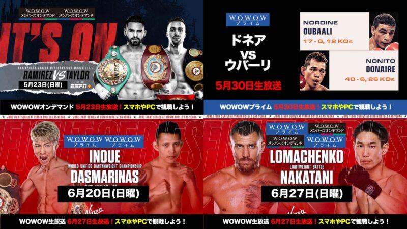 5月6月WOWOWボクシングがお得!4試合生放送!井上尚弥、中谷正義、ドネアvsウバーリ