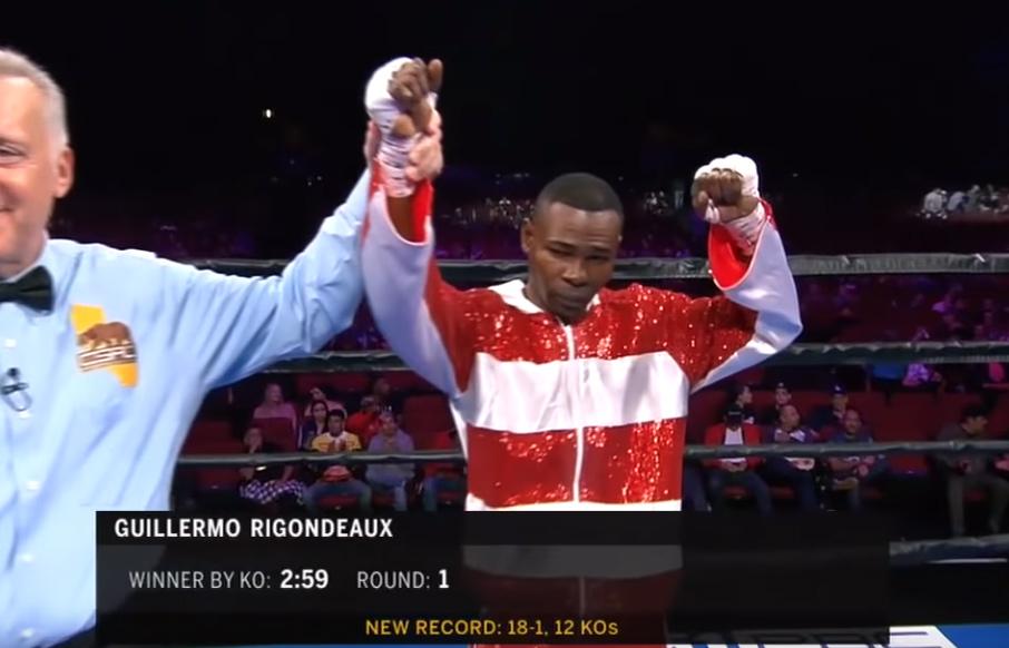 ギレルモ・リゴンドーが1ラウンド2分59秒KO勝ちを収めた