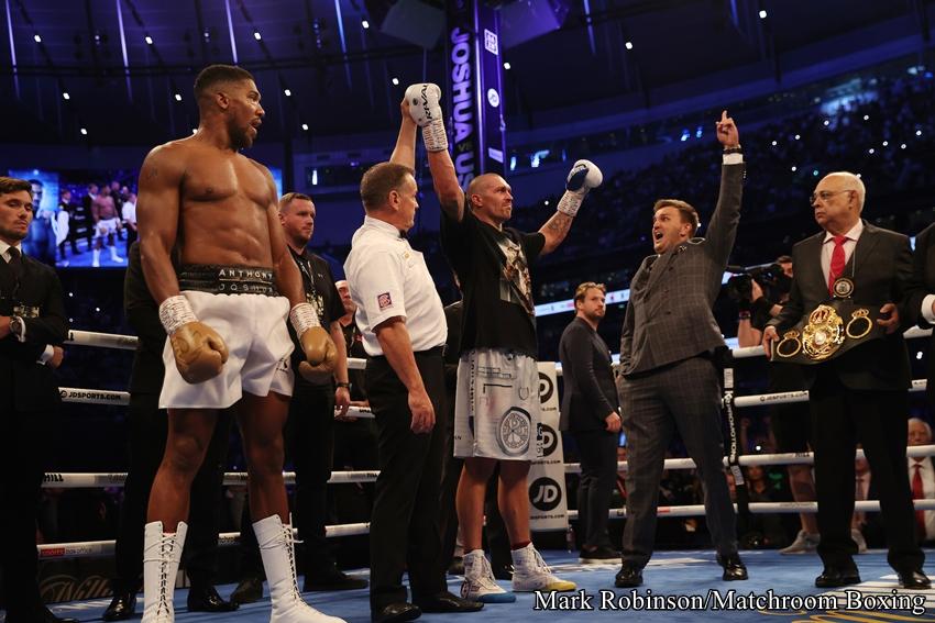 """2021年9月26日(日本時間)イングランドで開催されたWBAスーパー・IBF・WBO世界ヘビー級統一王者のアンソニー・ジョシュアvs.WBO同級1位オレクサンドル・ウシクの試合結果・勝敗は、序盤から的確なパンチでポイントを奪っていったウシクが3-0(117-112, 116-112, 115-113)判定勝ちを収め、WBAスーパー・IBF・WBO世界ヘビー級新王者となった。 <img src=""""https://ibu4gin.net/box/wp-content/uploads/MR3A4539.jpg"""" alt="""""""" width=""""850"""" height=""""533"""" class=""""aligncenter size-full wp-image-578467"""" />"""