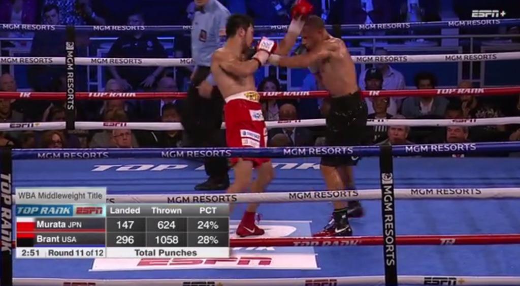 10ラウンド終了までのパンチデータ、繰り出すパンチ数ヒット数がかなりの差が【結果】村田諒太vsロブ・ブラント WBA世界ミドル級レギュラータイトルマッチ2018年10月21日
