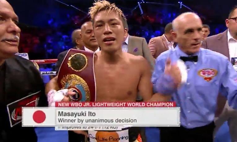 伊藤雅雪選手が3-0判定勝利(116-111 | 117-110 | 118-109 )WBO世界スーパーフェザー級王座獲得