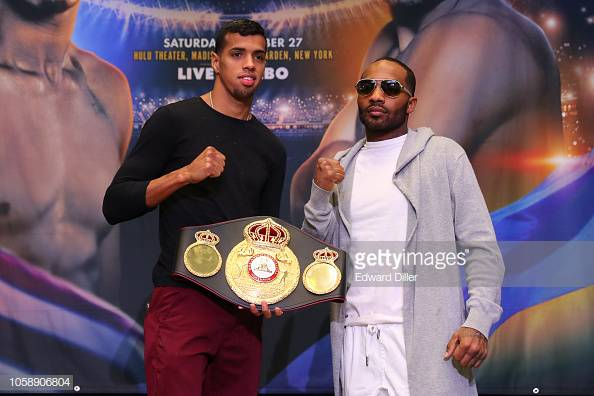 NEW YORK, NY - OCTOBER 24: Alberto Machado (left) and Yuandale Evans (right) pose for members of the media at the Jacobs vs Derevyanchenko press conference at Madison Square Garden on October 24, 2018 in New York City. (Photo by Edward Diller/Getty Images)